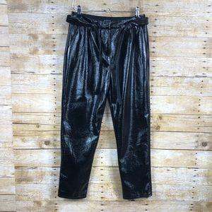Who What Wear Black Shinny Faux Leather Pants Sz 2